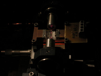 PPLN waveguide under red laser illumination